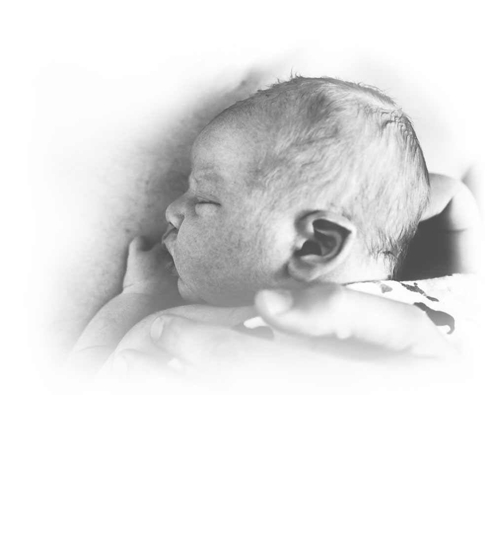 Maple Hollow Photography, Family Documentary Photography - Black and White of baby sleeping