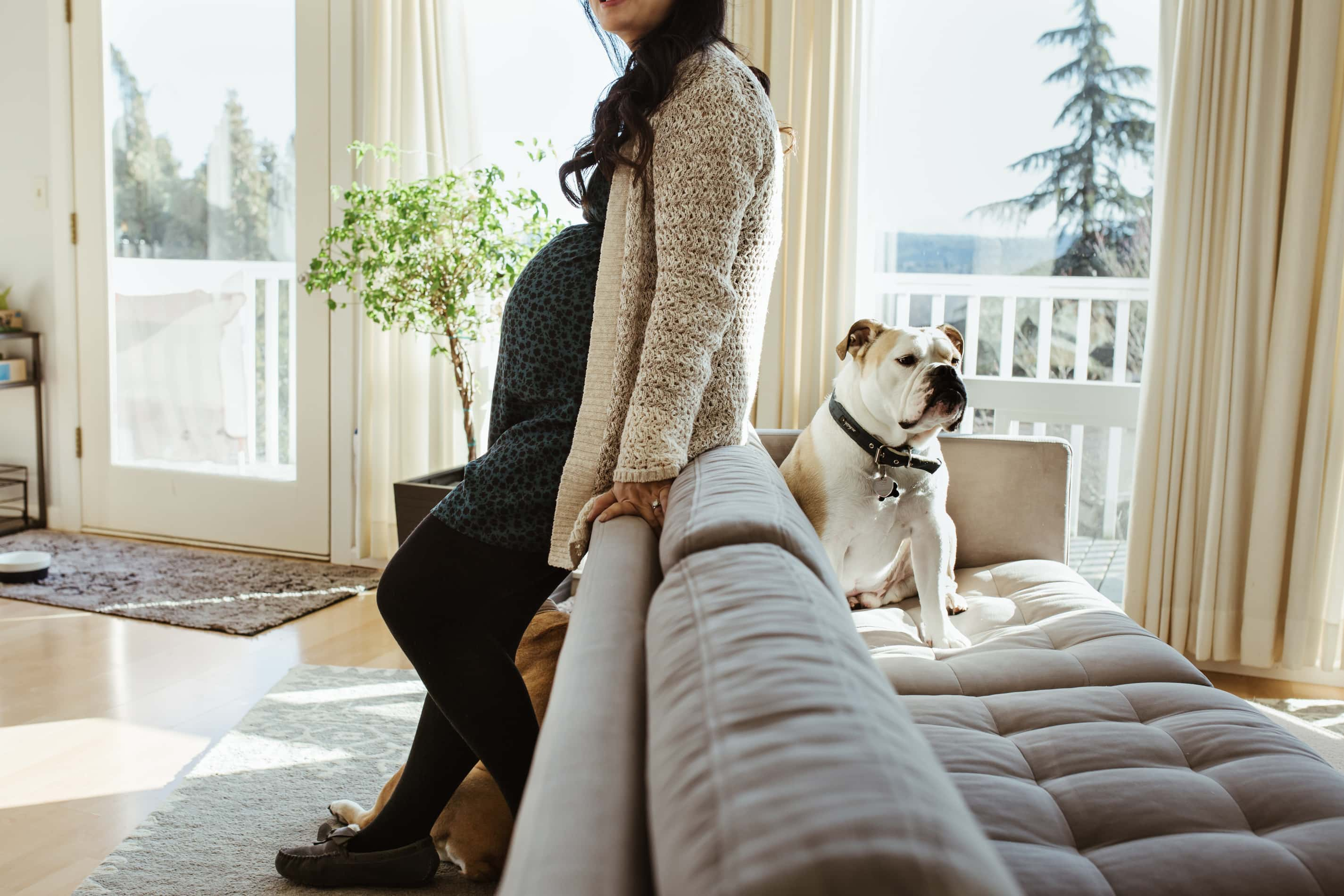 pregnant mom leans up against the back of a couch where a tan and white bull dog sits opposite of her